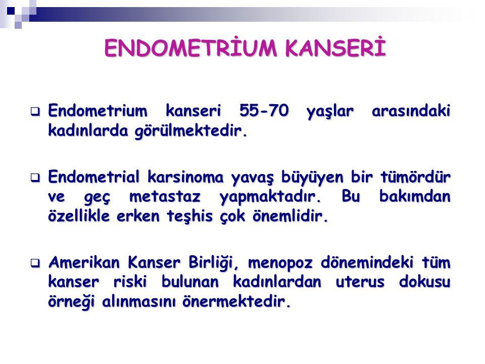 ENDOMETRİUM KANSERİ Endometrium kanseri 55-70 yaşlar arasındaki kadınlarda görülmektedir.