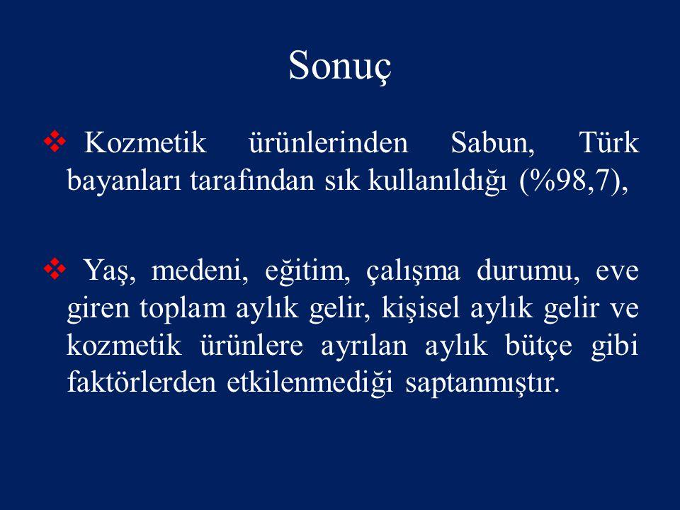 Sonuç Kozmetik ürünlerinden Sabun, Türk bayanları tarafından sık kullanıldığı (%98,7),