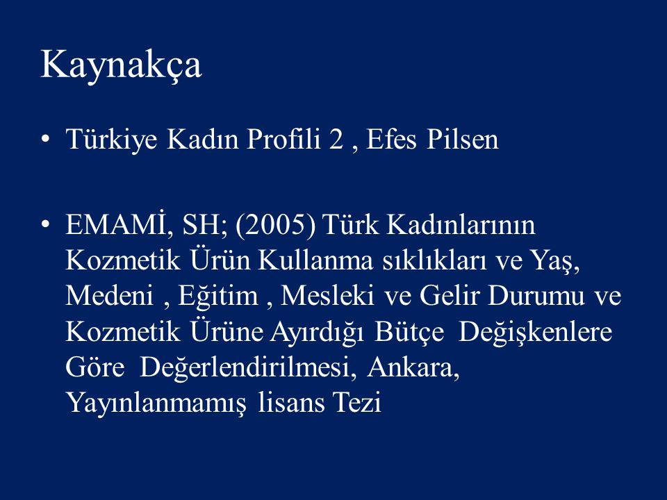 Kaynakça Türkiye Kadın Profili 2 , Efes Pilsen