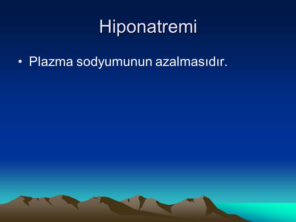 Hiponatremi Plazma sodyumunun azalmasıdır.
