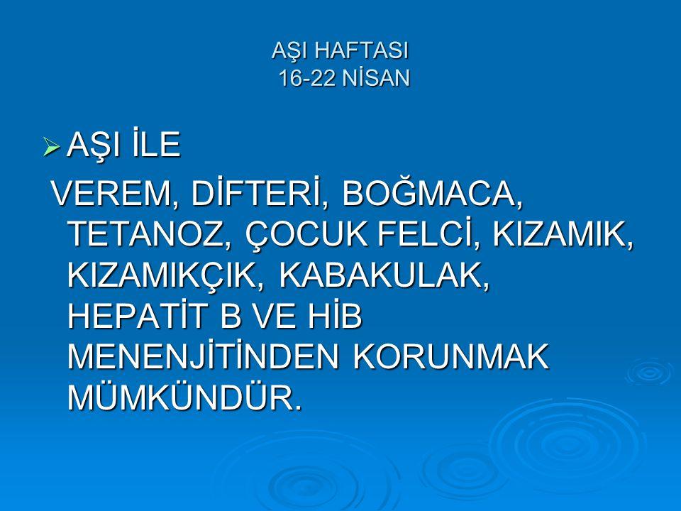 AŞI HAFTASI 16-22 NİSAN AŞI İLE.