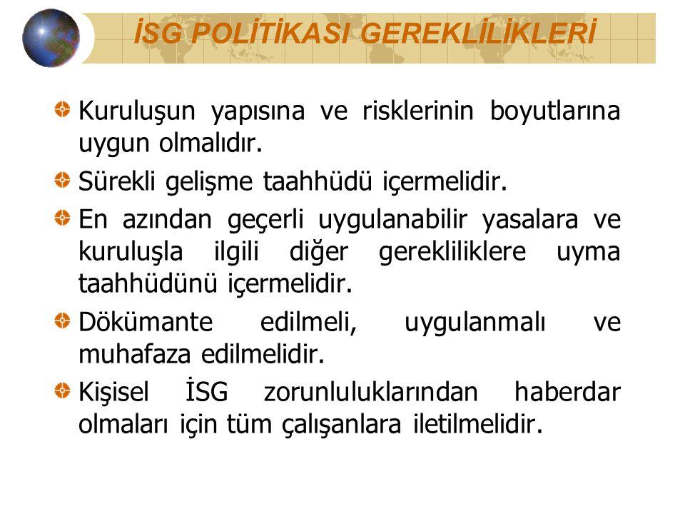 İSG POLİTİKASI GEREKLİLİKLERİ