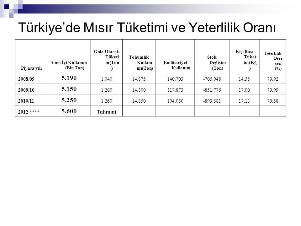 Türkiye'de Mısır Tüketimi ve Yeterlilik Oranı