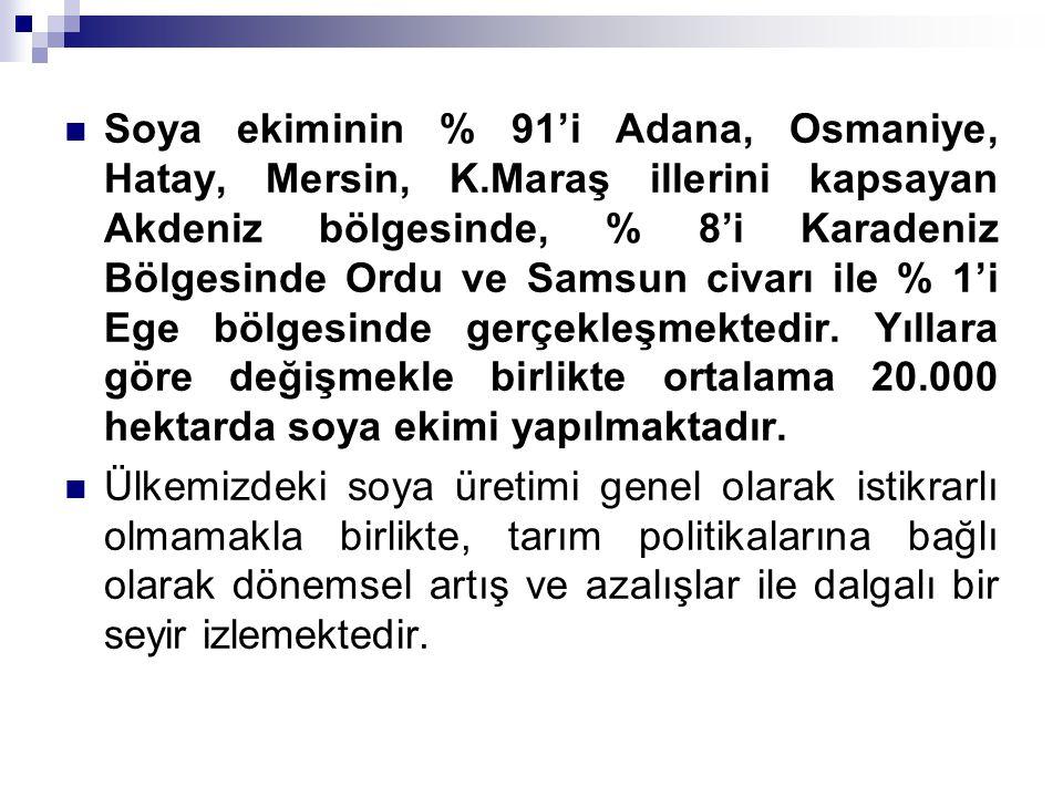 Soya ekiminin % 91'i Adana, Osmaniye, Hatay, Mersin, K