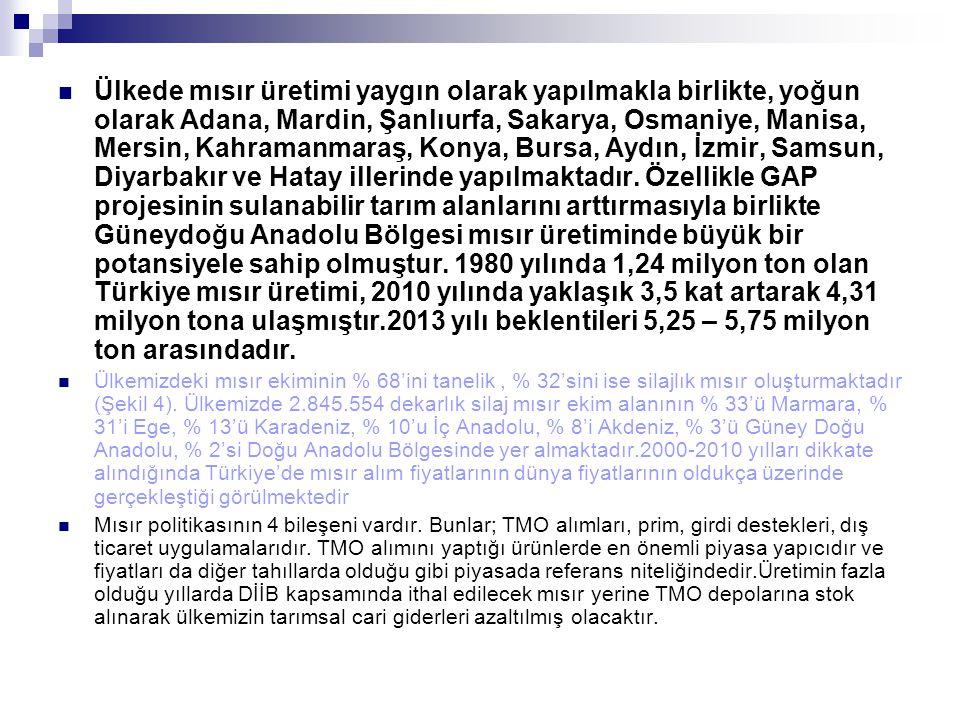 Ülkede mısır üretimi yaygın olarak yapılmakla birlikte, yoğun olarak Adana, Mardin, Şanlıurfa, Sakarya, Osmaniye, Manisa, Mersin, Kahramanmaraş, Konya, Bursa, Aydın, İzmir, Samsun, Diyarbakır ve Hatay illerinde yapılmaktadır. Özellikle GAP projesinin sulanabilir tarım alanlarını arttırmasıyla birlikte Güneydoğu Anadolu Bölgesi mısır üretiminde büyük bir potansiyele sahip olmuştur. 1980 yılında 1,24 milyon ton olan Türkiye mısır üretimi, 2010 yılında yaklaşık 3,5 kat artarak 4,31 milyon tona ulaşmıştır.2013 yılı beklentileri 5,25 – 5,75 milyon ton arasındadır.