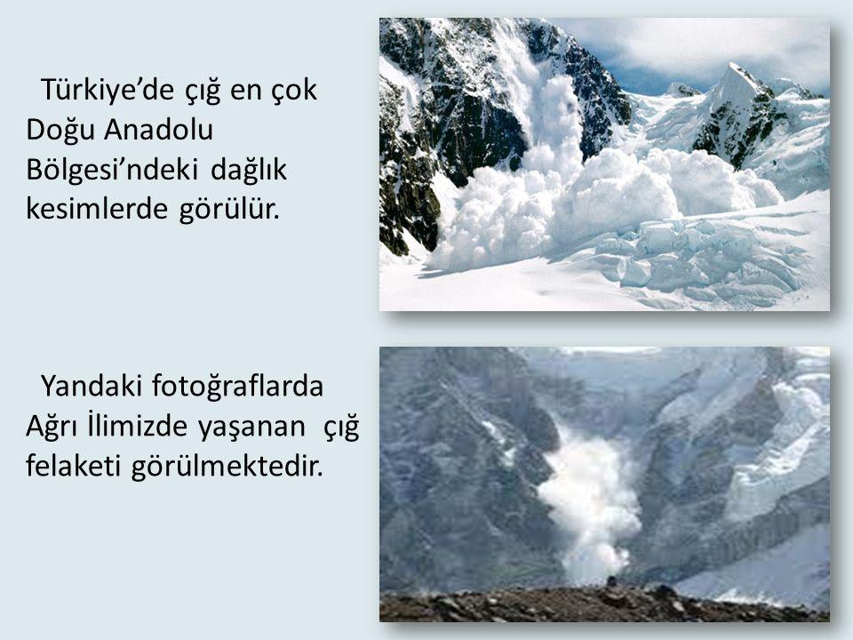 Türkiye'de çığ en çok Doğu Anadolu Bölgesi'ndeki dağlık kesimlerde görülür.