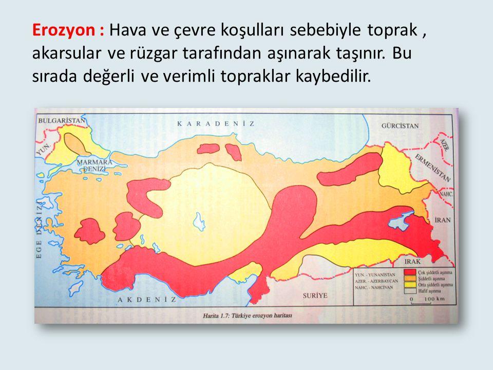 Erozyon : Hava ve çevre koşulları sebebiyle toprak , akarsular ve rüzgar tarafından aşınarak taşınır.