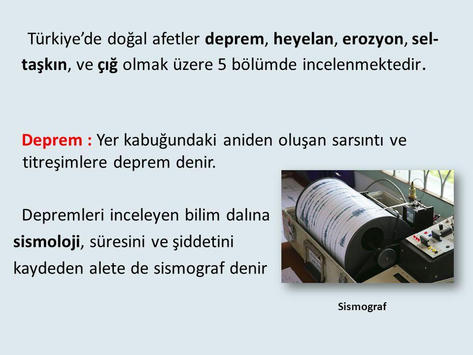 Türkiye'de doğal afetler deprem, heyelan, erozyon, sel-taşkın, ve çığ olmak üzere 5 bölümde incelenmektedir.