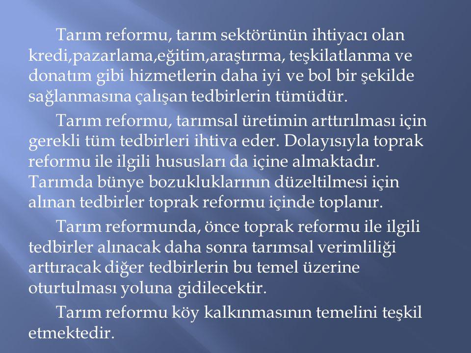 Tarım reformu, tarım sektörünün ihtiyacı olan kredi,pazarlama,eğitim,araştırma, teşkilatlanma ve donatım gibi hizmetlerin daha iyi ve bol bir şekilde sağlanmasına çalışan tedbirlerin tümüdür.