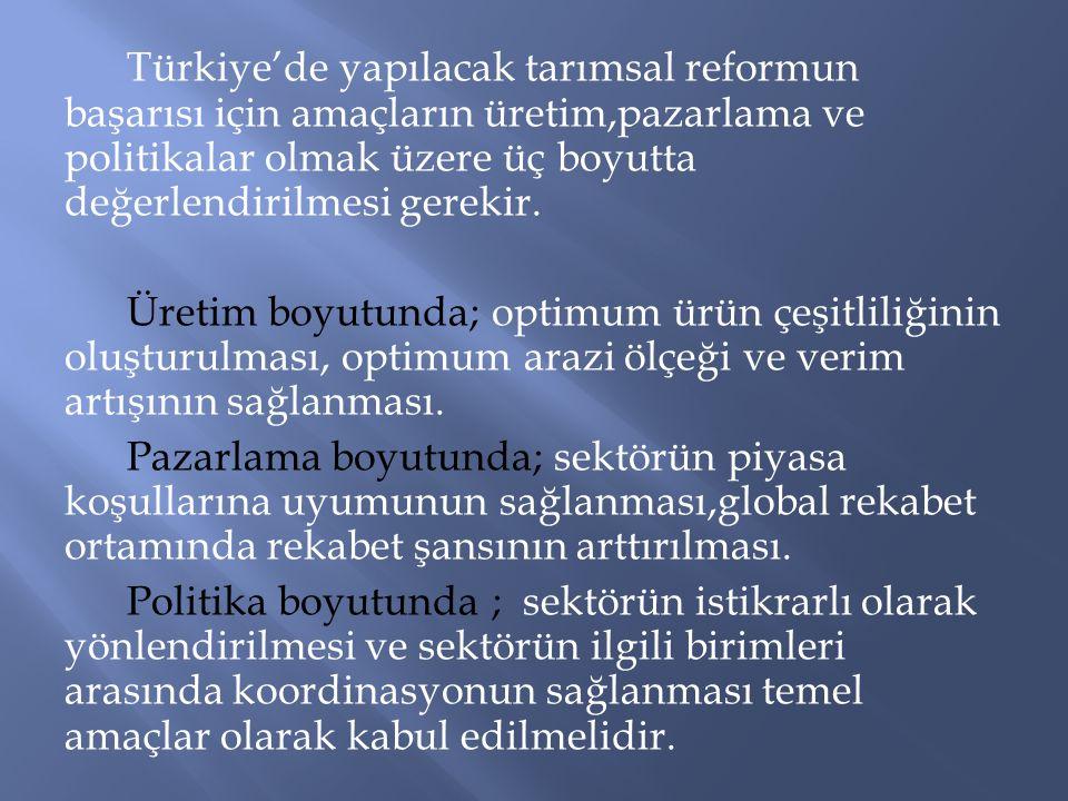 Türkiye'de yapılacak tarımsal reformun başarısı için amaçların üretim,pazarlama ve politikalar olmak üzere üç boyutta değerlendirilmesi gerekir.