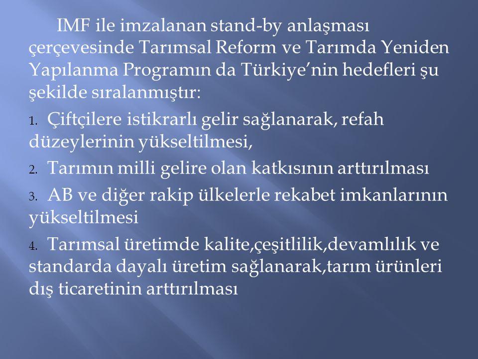 IMF ile imzalanan stand-by anlaşması çerçevesinde Tarımsal Reform ve Tarımda Yeniden Yapılanma Programın da Türkiye'nin hedefleri şu şekilde sıralanmıştır: