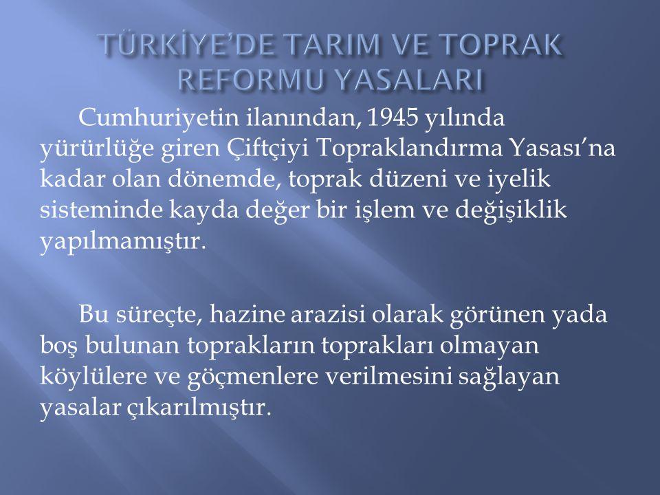 TÜRKİYE'DE TARIM VE TOPRAK REFORMU YASALARI