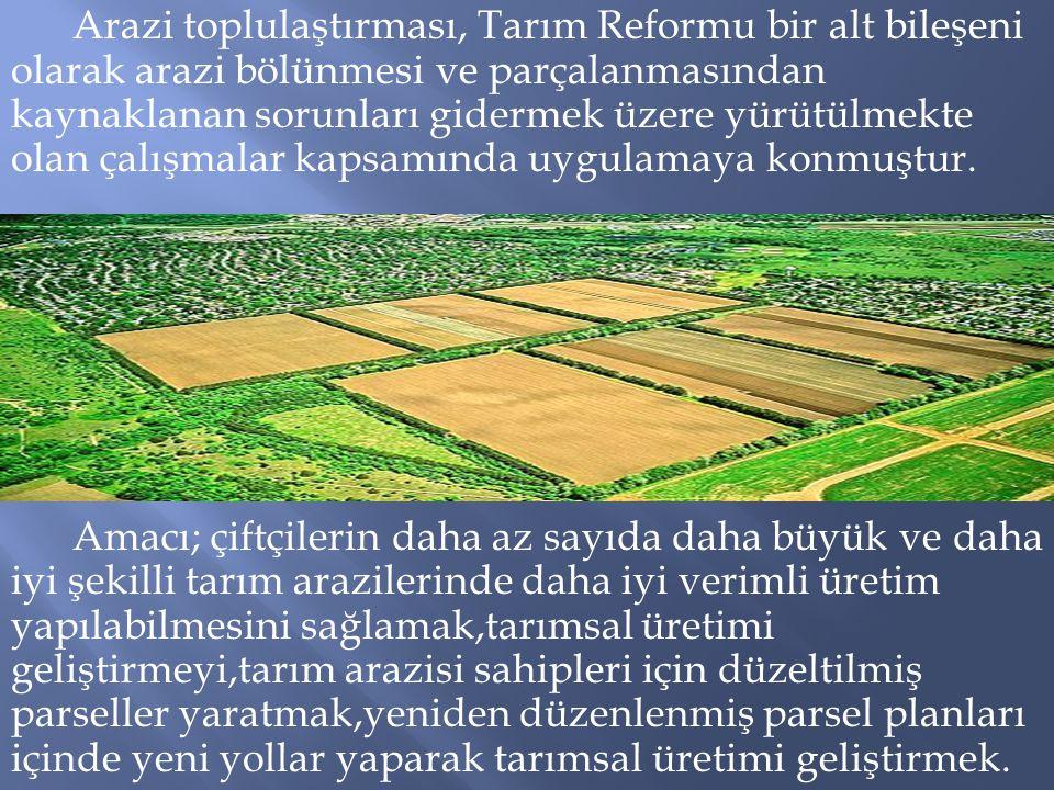 Arazi toplulaştırması, Tarım Reformu bir alt bileşeni olarak arazi bölünmesi ve parçalanmasından kaynaklanan sorunları gidermek üzere yürütülmekte olan çalışmalar kapsamında uygulamaya konmuştur.
