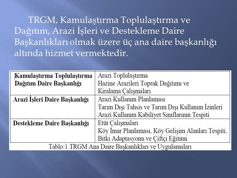 TRGM, Kamulaştırma Toplulaştırma ve Dağıtım, Arazi İşleri ve Destekleme Daire Başkanlıkları olmak üzere üç ana daire başkanlığı altında hizmet vermektedir.
