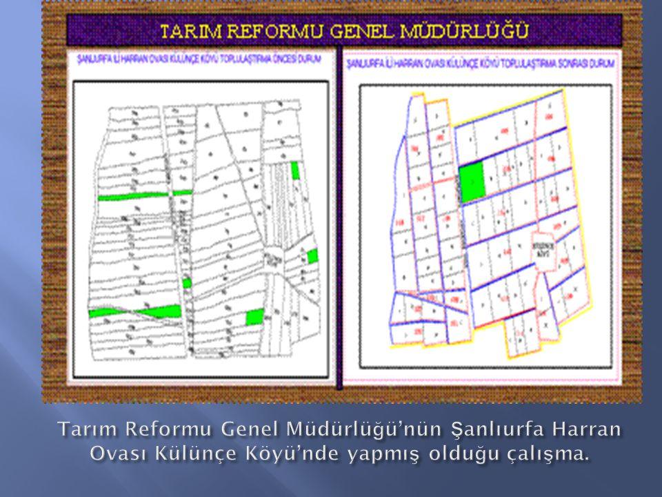 Tarım Reformu Genel Müdürlüğü'nün Şanlıurfa Harran Ovası Külünçe Köyü'nde yapmış olduğu çalışma.