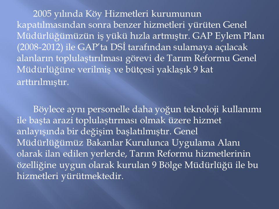 2005 yılında Köy Hizmetleri kurumunun kapatılmasından sonra benzer hizmetleri yürüten Genel Müdürlüğümüzün iş yükü hızla artmıştır.