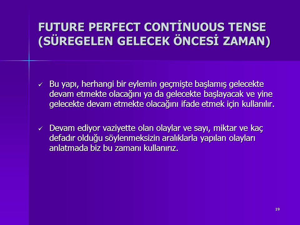 FUTURE PERFECT CONTİNUOUS TENSE (SÜREGELEN GELECEK ÖNCESİ ZAMAN)
