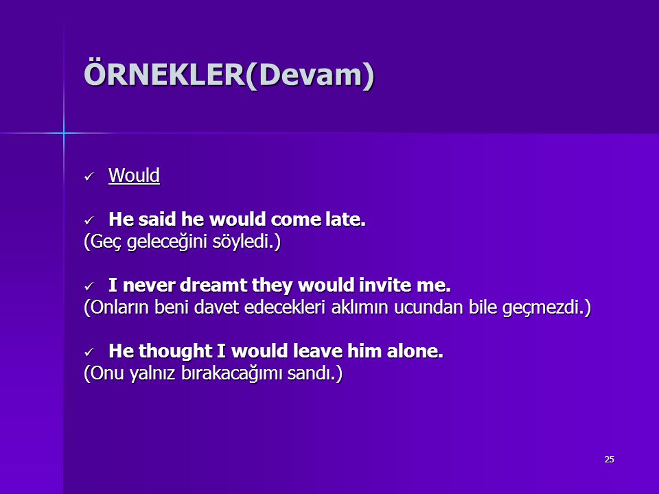 ÖRNEKLER(Devam) Would He said he would come late.