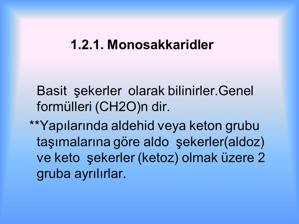 1.2.1. Monosakkaridler Basit şekerler olarak bilinirler.Genel formülleri (CH2O)n dir.