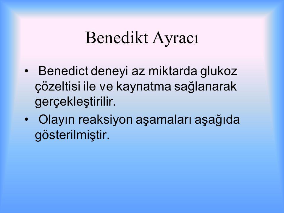 Benedikt Ayracı Benedict deneyi az miktarda glukoz çözeltisi ile ve kaynatma sağlanarak gerçekleştirilir.