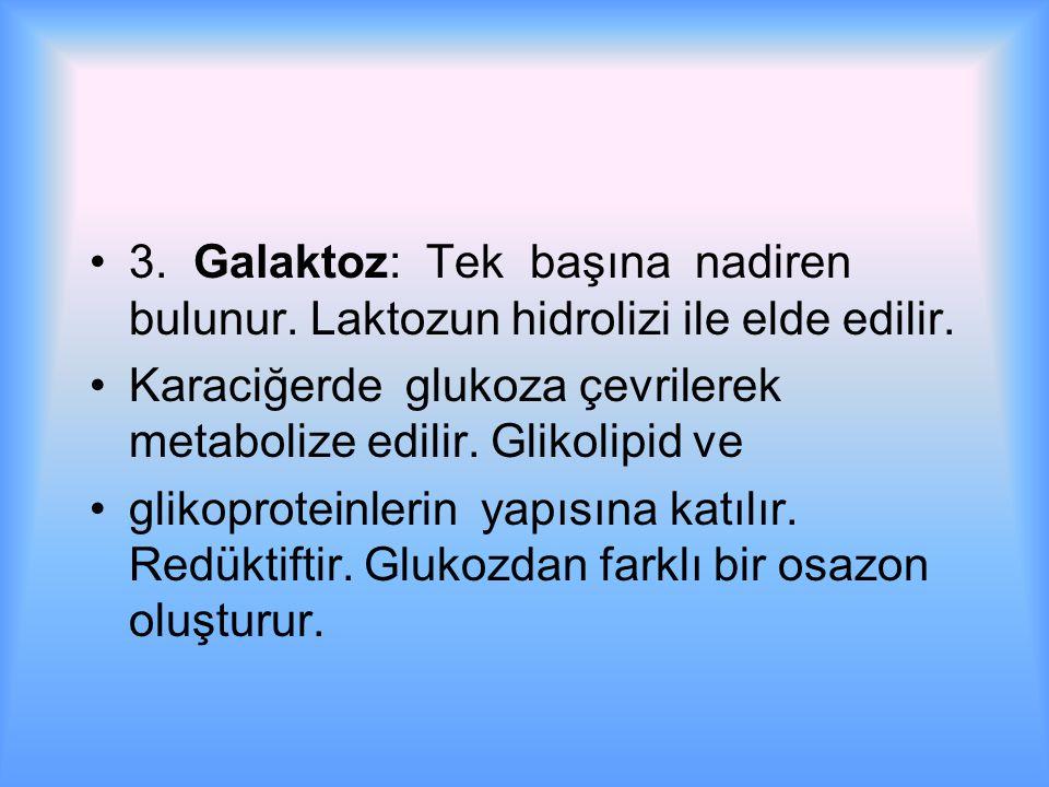 3. Galaktoz: Tek başına nadiren bulunur