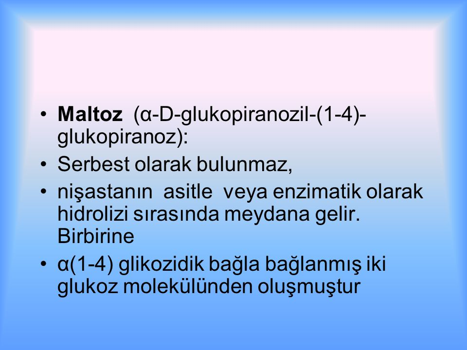 Maltoz (α-D-glukopiranozil-(1-4)-glukopiranoz):