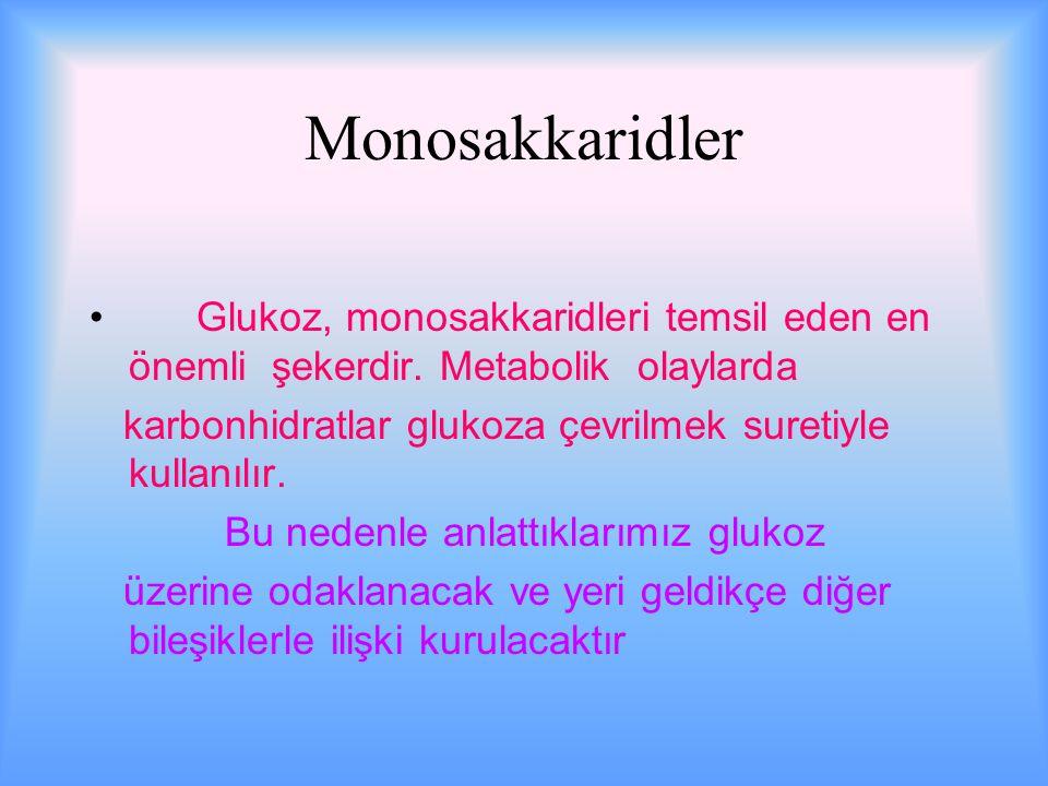 Monosakkaridler Glukoz, monosakkaridleri temsil eden en önemli şekerdir. Metabolik olaylarda.