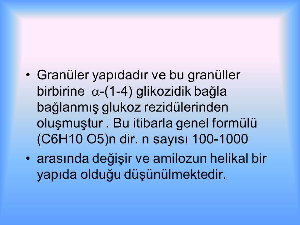 Granüler yapıdadır ve bu granüller birbirine -(1-4) glikozidik bağla bağlanmış glukoz rezidülerinden oluşmuştur . Bu itibarla genel formülü (C6H10 O5)n dir. n sayısı 100-1000