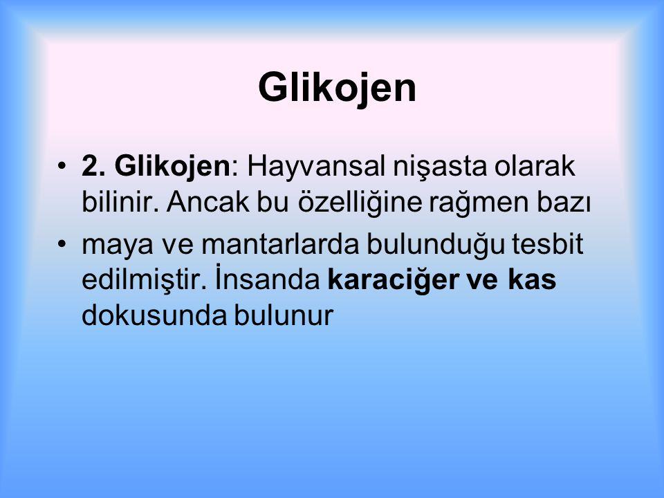 Glikojen 2. Glikojen: Hayvansal nişasta olarak bilinir. Ancak bu özelliğine rağmen bazı.