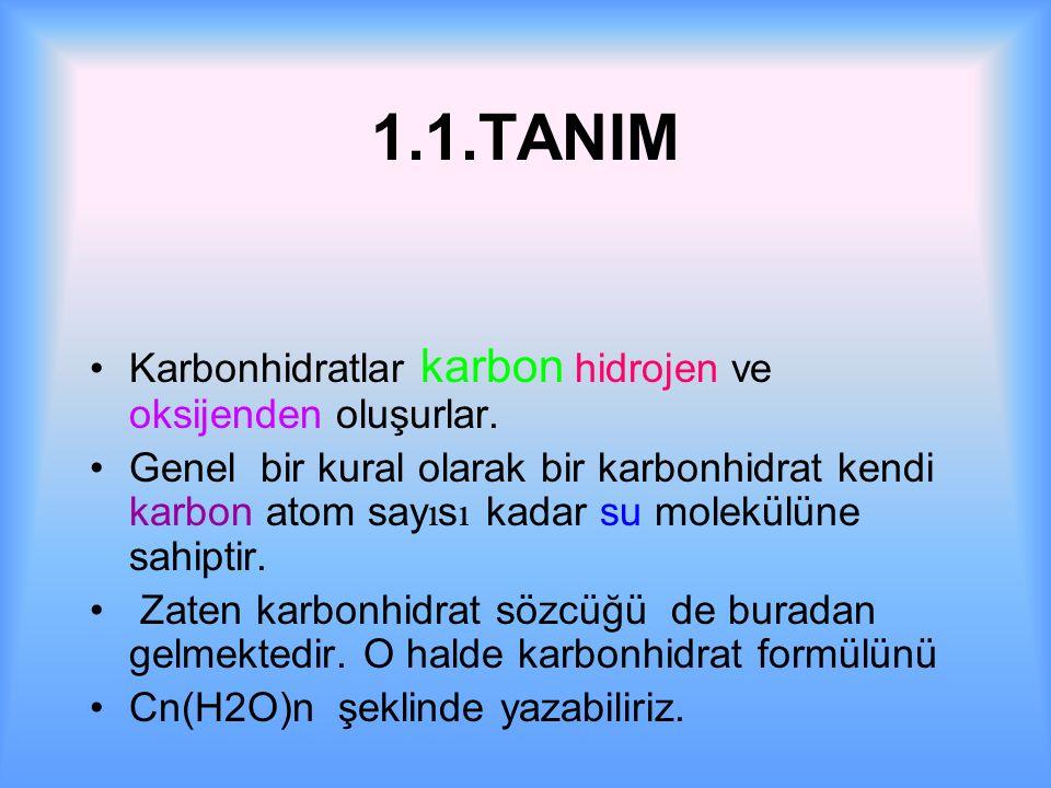 1.1.TANIM Karbonhidratlar karbon hidrojen ve oksijenden oluşurlar.