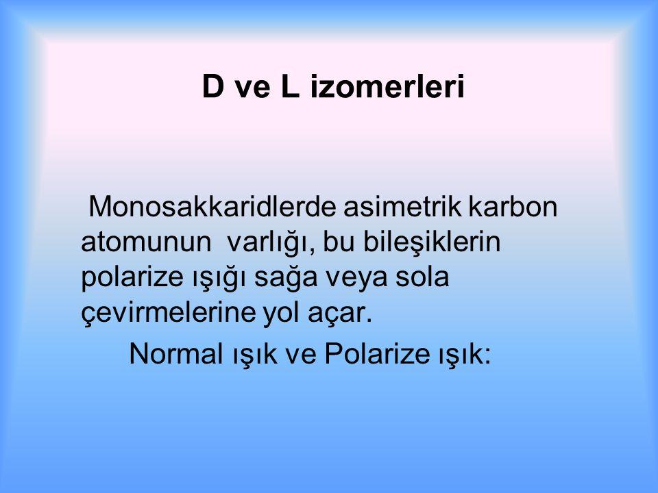 D ve L izomerleri Monosakkaridlerde asimetrik karbon atomunun varlığı, bu bileşiklerin polarize ışığı sağa veya sola çevirmelerine yol açar.