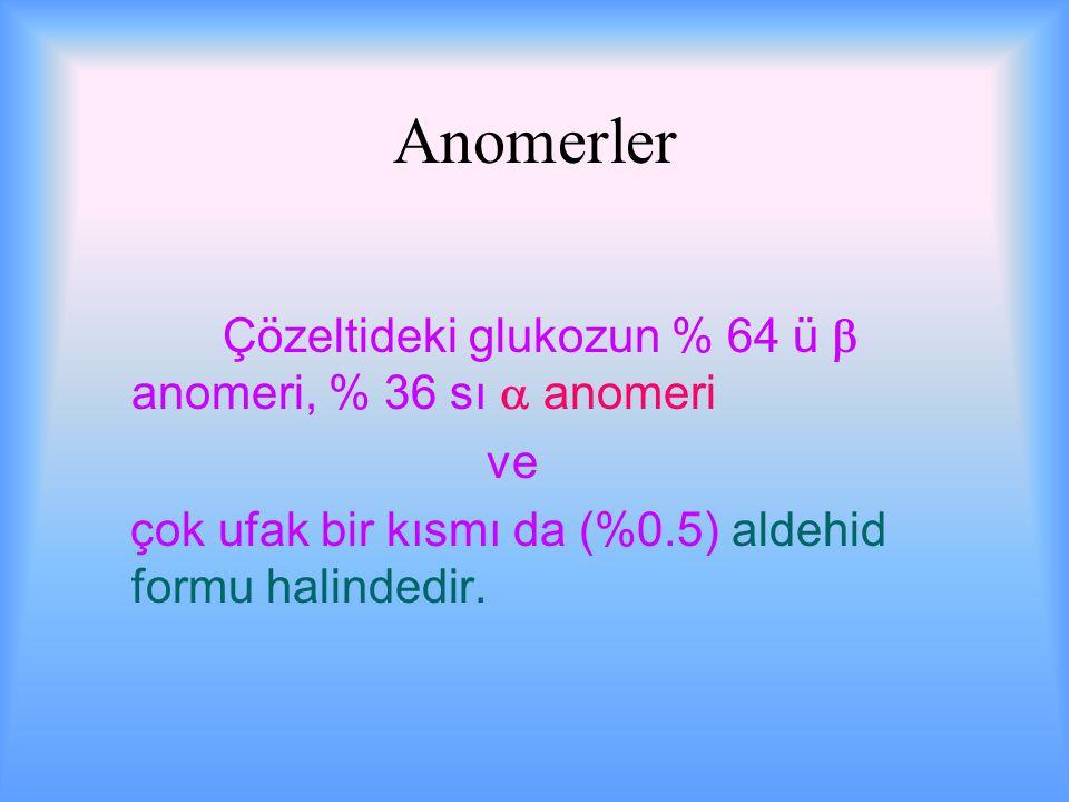 Anomerler Çözeltideki glukozun % 64 ü  anomeri, % 36 sı  anomeri ve