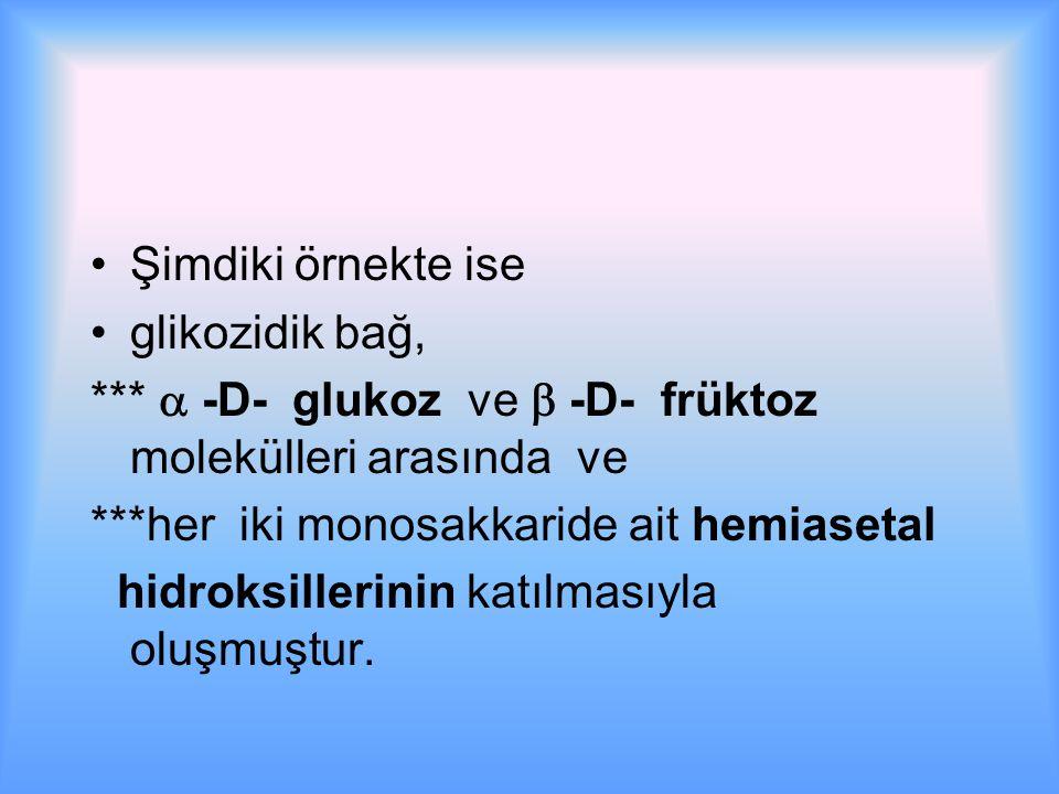 Şimdiki örnekte ise glikozidik bağ, ***  -D- glukoz ve  -D- früktoz molekülleri arasında ve.