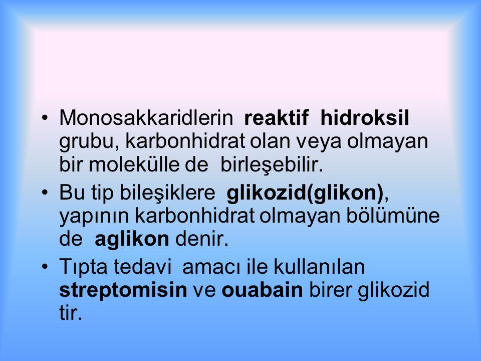 Monosakkaridlerin reaktif hidroksil grubu, karbonhidrat olan veya olmayan bir molekülle de birleşebilir.