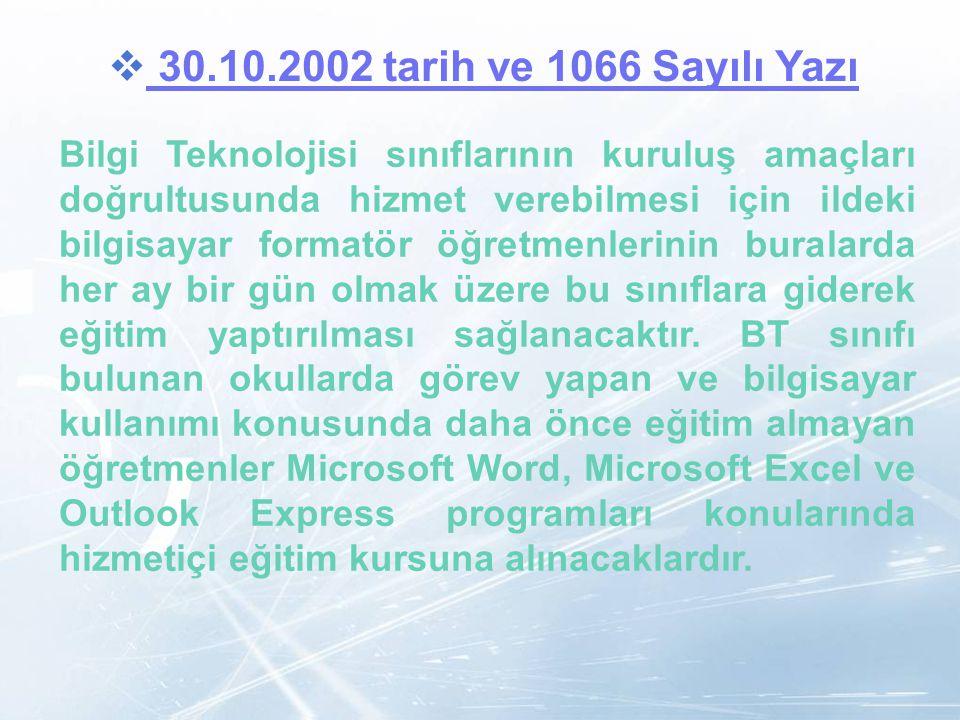 30.10.2002 tarih ve 1066 Sayılı Yazı