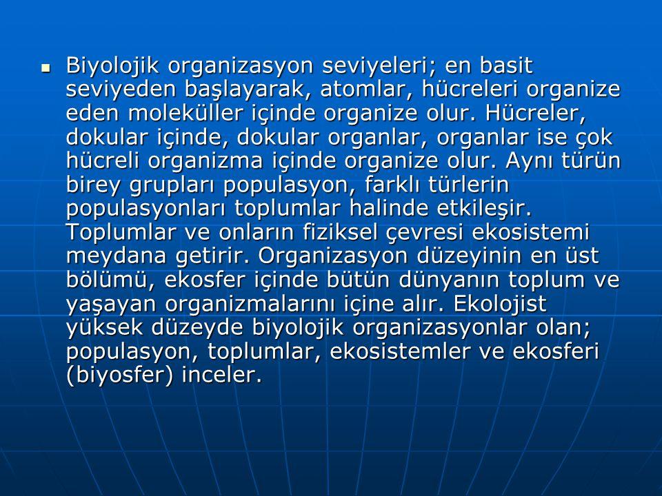 Biyolojik organizasyon seviyeleri; en basit seviyeden başlayarak, atomlar, hücreleri organize eden moleküller içinde organize olur.