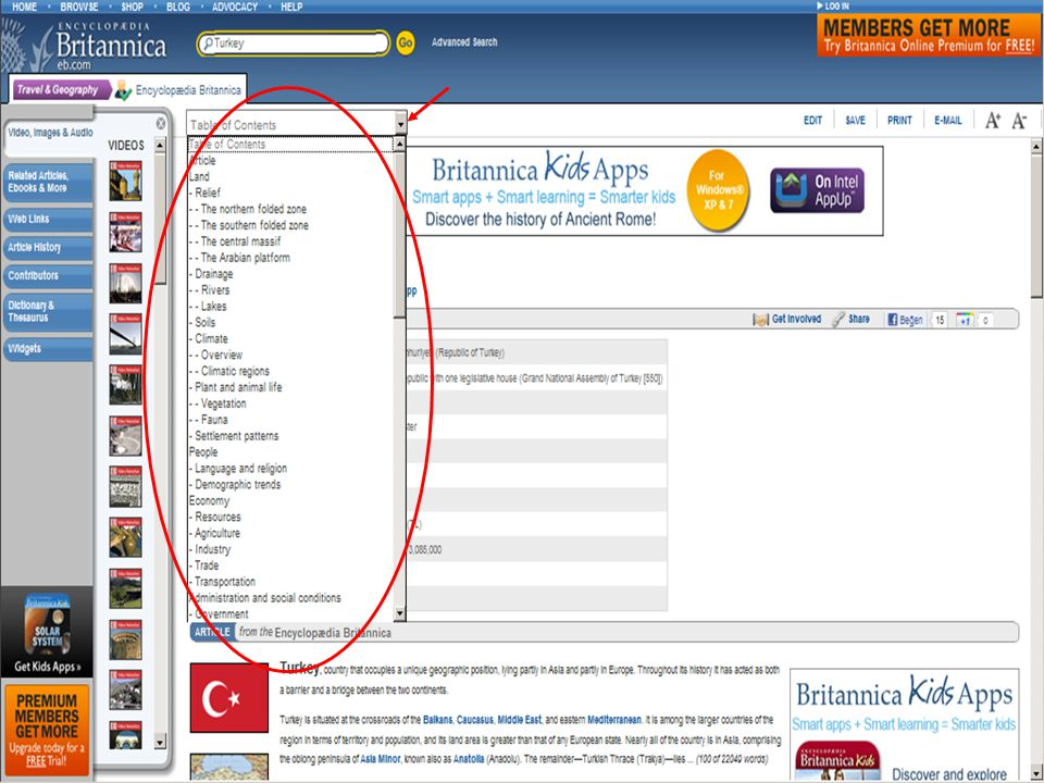 Britannica Online: Encyclopedia Britannica'nın çevrimiçi versiyonu (2011 yılına ait ekran görüntüsü)