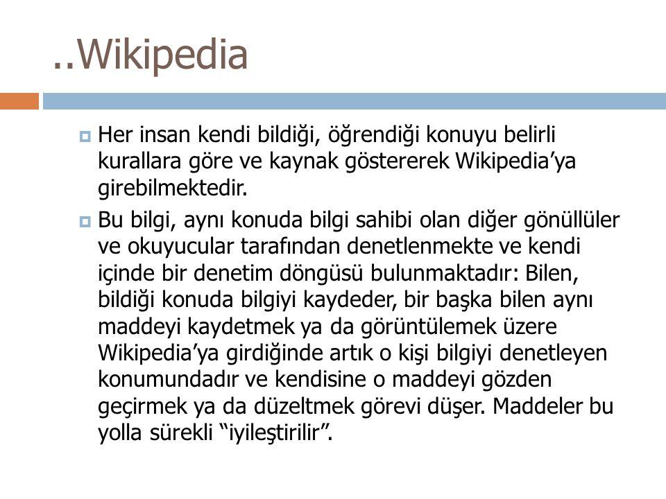 ..Wikipedia Her insan kendi bildiği, öğrendiği konuyu belirli kurallara göre ve kaynak göstererek Wikipedia'ya girebilmektedir.