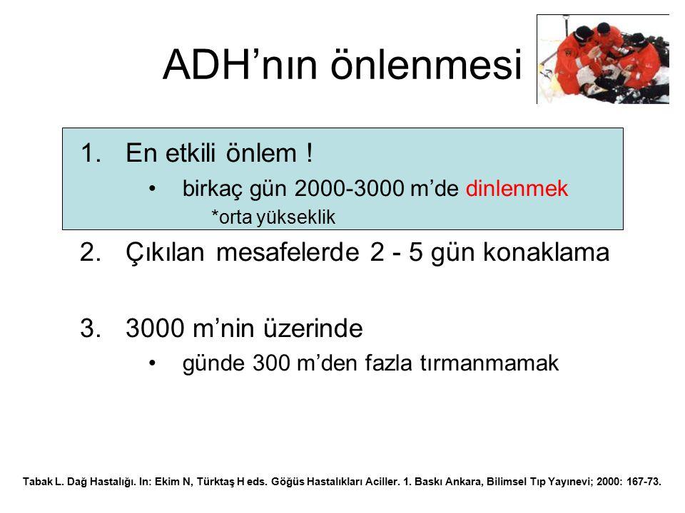 ADH'nın önlenmesi En etkili önlem !