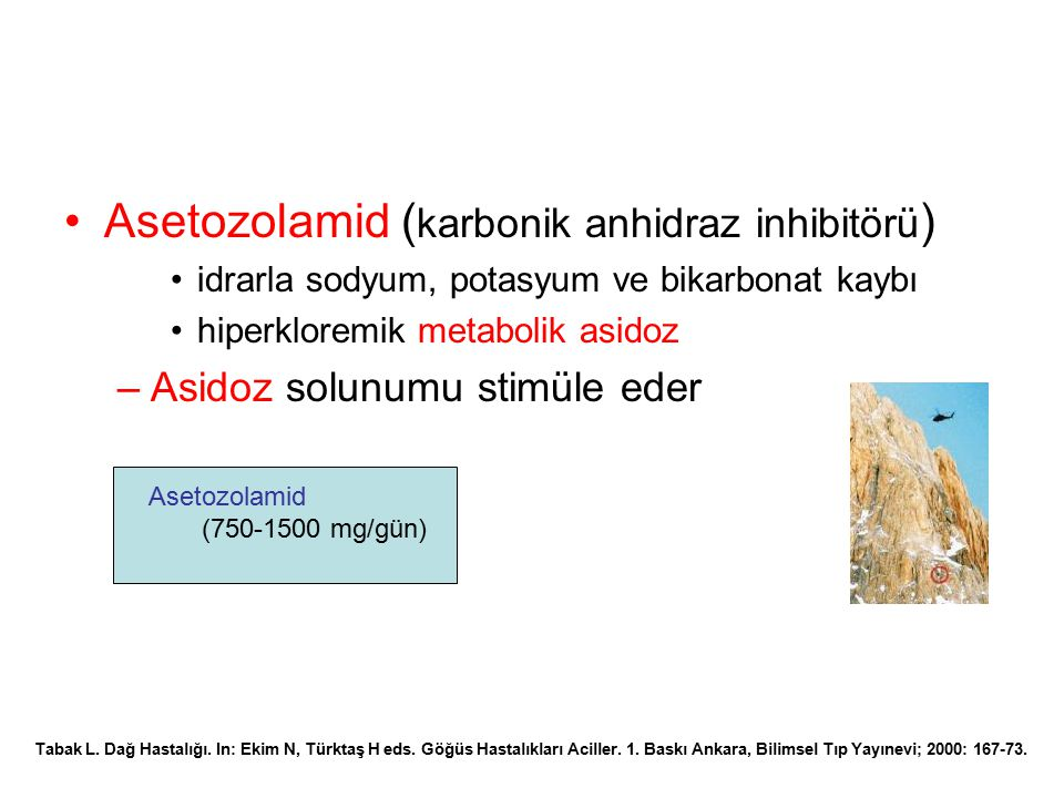 Asetozolamid (karbonik anhidraz inhibitörü)
