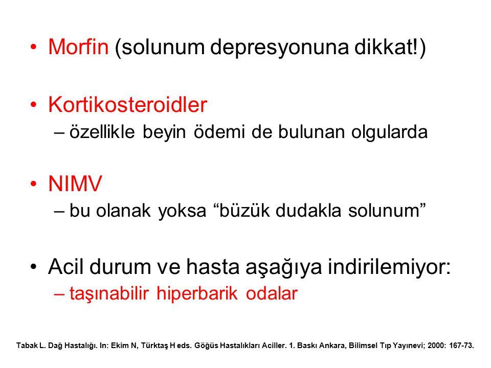 Morfin (solunum depresyonuna dikkat!) Kortikosteroidler
