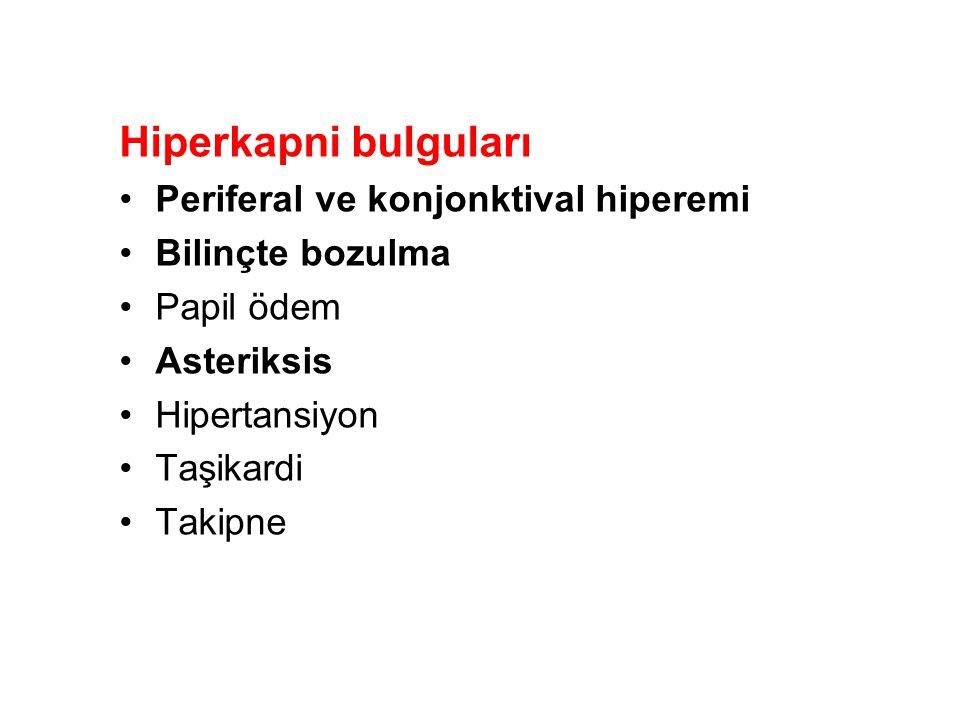 Hiperkapni bulguları Periferal ve konjonktival hiperemi