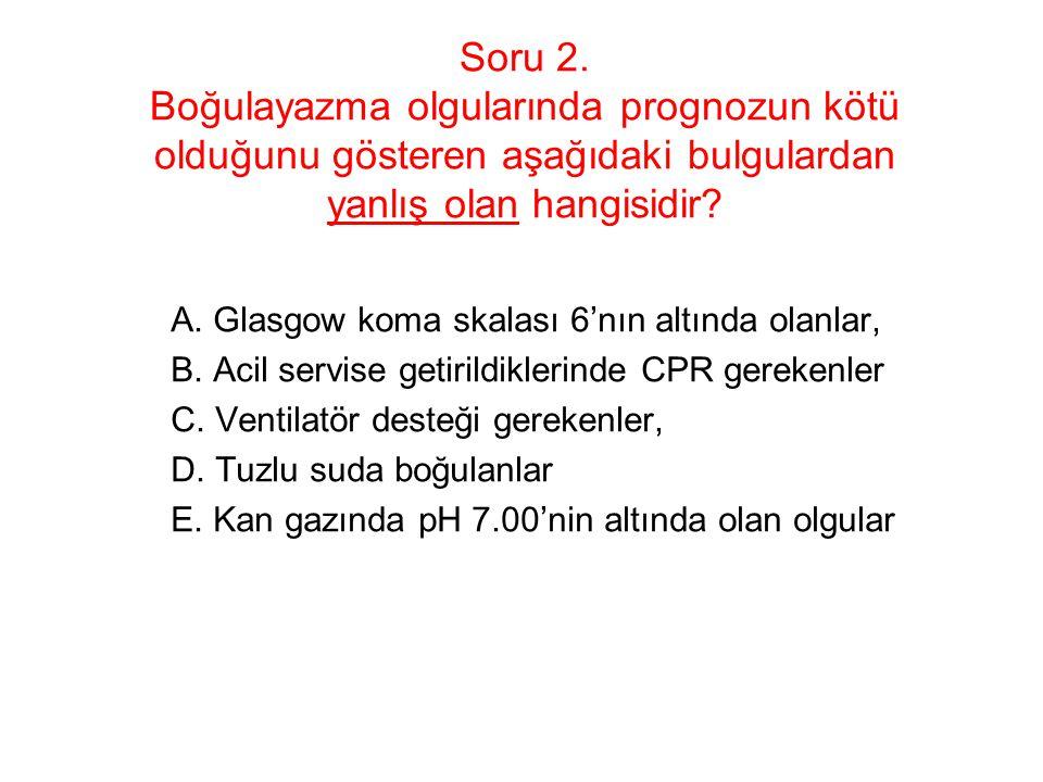 Soru 2. Boğulayazma olgularında prognozun kötü olduğunu gösteren aşağıdaki bulgulardan yanlış olan hangisidir