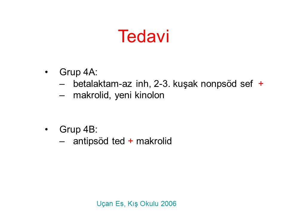 Tedavi Grup 4A: betalaktam-az inh, 2-3. kuşak nonpsöd sef +