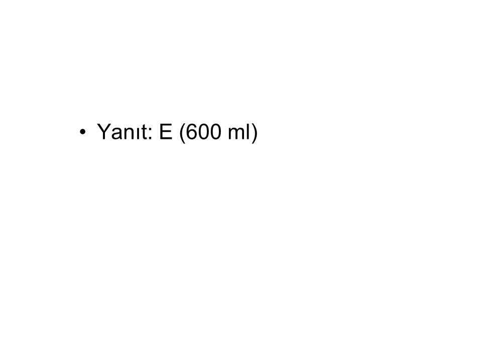 Yanıt: E (600 ml)