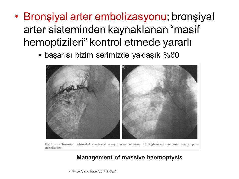Bronşiyal arter embolizasyonu; bronşiyal arter sisteminden kaynaklanan masif hemoptizileri kontrol etmede yararlı