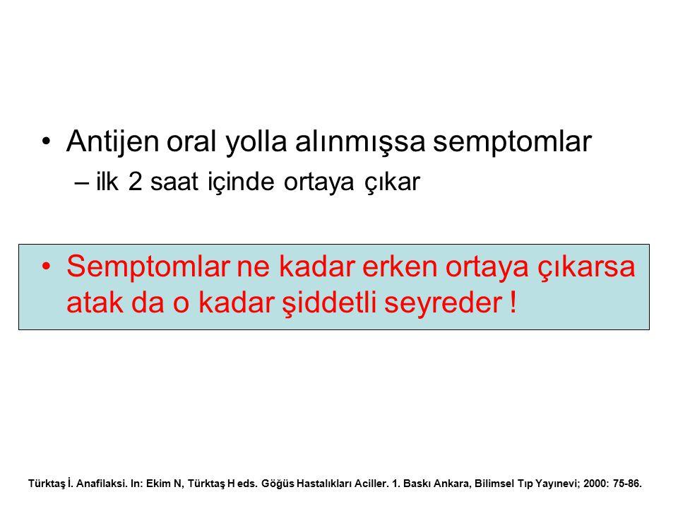 Antijen oral yolla alınmışsa semptomlar