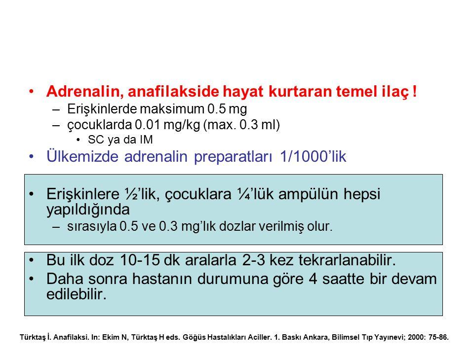 Adrenalin, anafilakside hayat kurtaran temel ilaç !