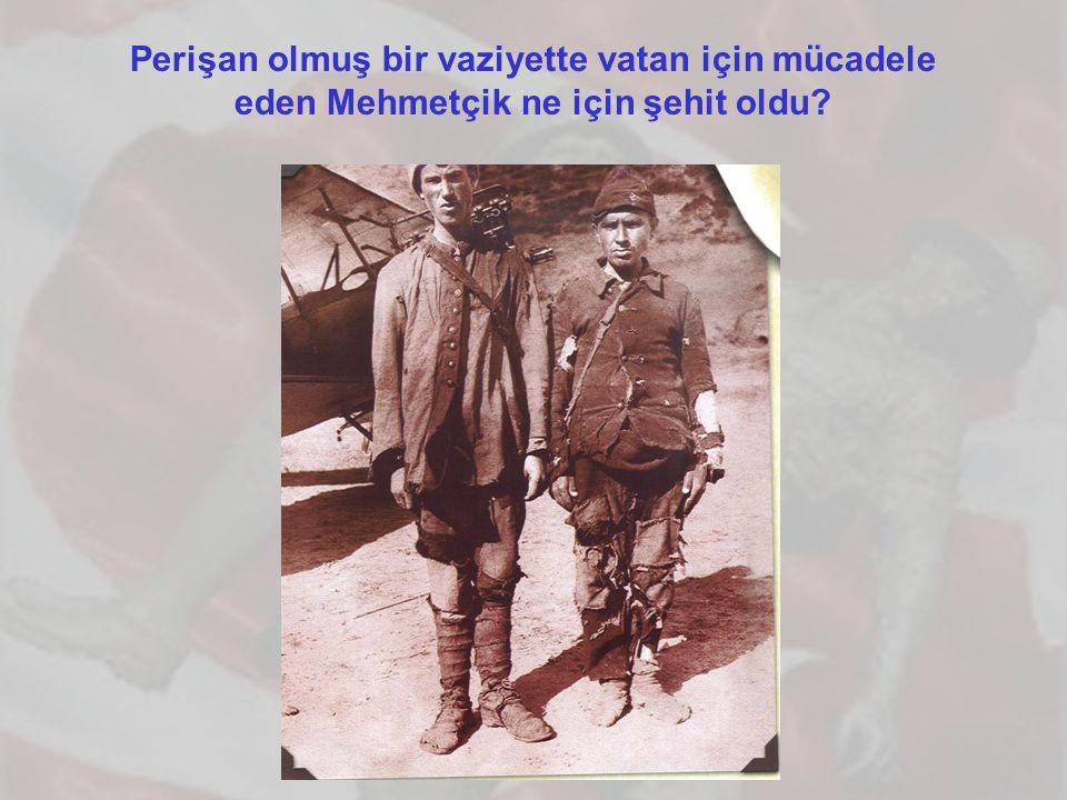 Perişan olmuş bir vaziyette vatan için mücadele eden Mehmetçik ne için şehit oldu