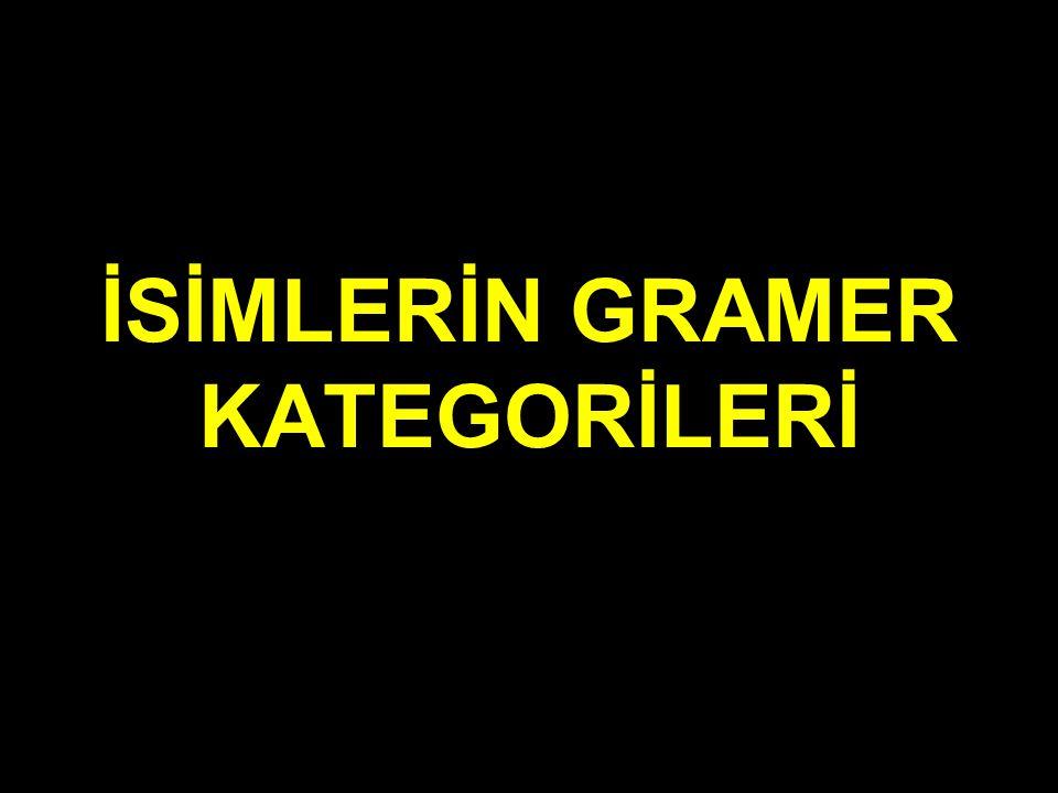İSİMLERİN GRAMER KATEGORİLERİ